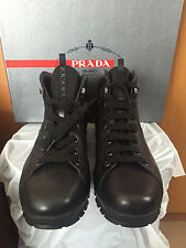 Prada Men's Full Black Leather Hiking Boots Shoes 4T2770 Prada 11, US 12 - $650
