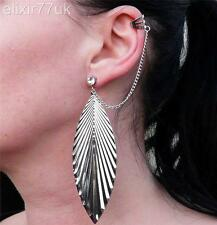 NEW LARGE SILVER DANGLE DROP FEATHER STUD EARRING CHAIN CRYSTAL EAR CUFF GIFT UK