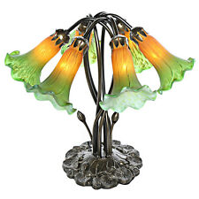 6-Light Lily Green/Amber Handpainted Glass Downlight Accent Lamp