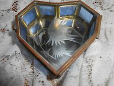 Vintage Heart Shaped Brass & Blue Glass Footed Jewelry Trinket Box