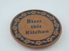 Frankoma Pottery Bless This Kitchen Round Trivet Hot Plate Terra Cotta 6.5 VTG