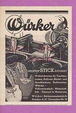 DRESDEN, Werbung 1940, Würker-Stickautomaten-Fabrik Dreikopf-Stick-Automat