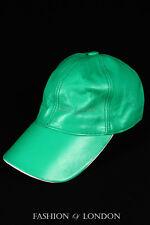 Mint Green & White Peak BASEBALL CAP Lambskin 100% Leather Hip-Hop Men's Ladies