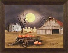 HARVEST MOON by Billy Jacobs 22x28 FRAMED PICTURE Pumpkins Wagon Barn Corn Shock