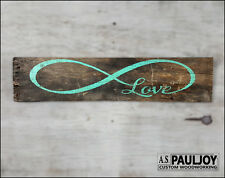 LOVE INFINITY turquoise Handmade Sign Valentines Gift Weathered Pallet Wood