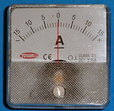 DC Analog Ammeter Panel Mount 15-0-15 PMA101-DC