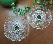 """Set of 2 Pressed Glass Serving Plate Dishes w/ Silverplate Pedestal 5-3/4"""" Round"""