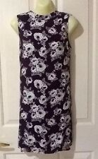 Ladies Longline Top With Side splits Size 10 Supre Maroon White Bordeaux Floral