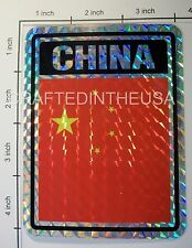 "Reflective Sticker China Flag Communist 3x4"" Inches Adhesive Car Bumper Decal"