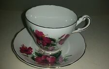 Regency English Bone China Tea Cup Saucer Scalloped Gold Trim - Hibiscus