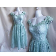 Vintage 40s Dress size S Blue Tulle Party prom Bridesmaid Cupcake Cocktail 50s