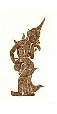 """Thai Temple Rubbing - Brown - Traditional Character - 12"""" x 24""""  Original 1208BR"""