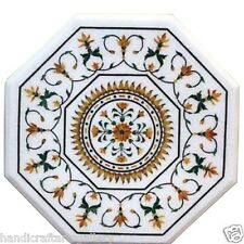 "Size 24""x24"" White Marble Center Coffee Table Top Jasper Stone Mosaic Inlay Deco"
