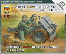 Zvezda 1/72 Figures - German 75mm Infantry Gun with Crew Z6156