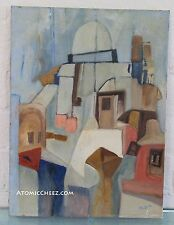 MOD Vintage 60s SIGNED Mid Century Modern ABSTRACT CUBIST Cityscape Oil Painting