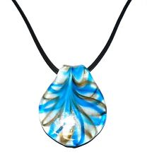 MN432L Blue & Gold Swirl White Lampwork Glass Spoon Pendant Necklace