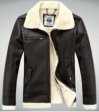 LJZ22 Mens Air Force pilot leather fur collar fleece jacket coat outwear trench