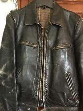 German WW2 Era Leather Luftwaffe Jacket - Men's Small Black