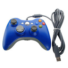USB Wired Game Controller For PC Microsoft Xbox 360 Windows 7 8 Blue GamePad US
