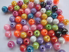 100 x Acrylic pearl spacer round beads 8mm - Multi