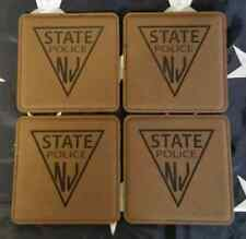 """NJSP New Jersey State Police 4"""" Dark Brown Leather Coasters Set of 4"""