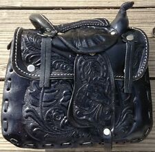 Large BLACK SADDLE HANDBAG PURSE COWGIRLS WESTERN HORSE  LEATHER PURSE