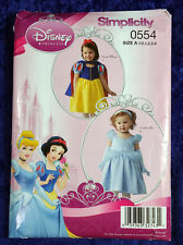 Cinderella Snow White Disney Simplicity 0554 Child Size A 1/2-4 Costume Pattern