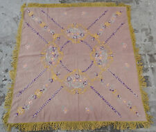 Vintage Hand Embroidered Beautiful Table Cover Wall Hanging 122x126 cm X8
