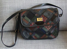 Vintage original 1970s Marc Chantal patchwork shoulder bag handbag 2 zip pockets