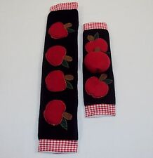 Appliance Handle Covers ~ Refrigerator, Oven, Microwave ~ Black Felt Apple Theme