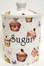 Cupcakes & Butterflies Sugar Canister Bone China Storage Jar Hand Decorated UK
