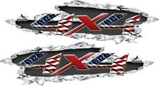 American Flag Patiotic Ripped Metal 4x4 Offroad Graphic Vinyl Decal Truck SUV