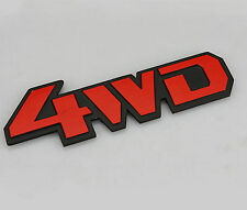 Red & Black 4WD Stainless Tailgate Metal Emblem Badge Sticker For 4 Wheel Drive