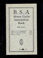 1939 BSA  250CC STANDARD C10 / De LUXE C10 / 250 O.H.V. C11 INSTRUCTION BOOK