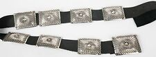 Large Vincent James Platero sterling silver Navajo fine stamp work concho belt