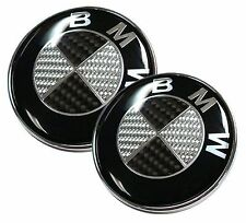 NEW 82mm+73mm Real Carbon Fiber BMW Black/Silver Hood/Trunk Emblems Badges
