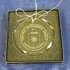 "CIA Central Intelligence Agency 3"" Beveled Crystal String Ornament Blue Gift Box"