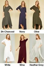 Womens 3/4 Sleeve Round Neck Hi Low Asymmetrical Hem Flared Maxi Dress USA Plus