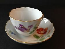 Meissen Royal Flute Twisted Feather Demitasse Cup & Saucer Set Floral Gold Gilt