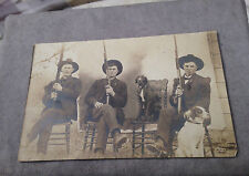 NEBRASKA PRE 1918 RPPC 3 HUNTERS WITH RIFLES & DOGS REAL PHOTO POSTCARD
