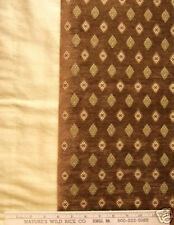 "NEW FABRIC RICH BROWN DIAMOND PATTERN 54"" X 27"" plus 12"" x 119"" solid Gold"