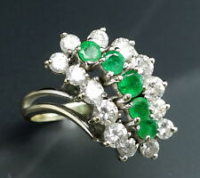 Natural Emerald Diamond 14K White Gold Cascade Waterfall Cocktail Openwork Rind