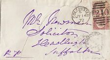 GB LINE ENGRAVED :1872 1/2d plate 4  pair  used on envelope -COLCHESTER numeral