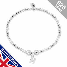 Trink Initial 'H' Letter Charm Sterling Silver Beaded Bracelet Top Gift/Present