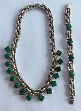 Vtg Modernist TAXCO MEXICO Sterling Silver Green Malachite NECKLACE Bracelet SET