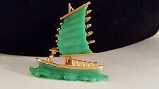 Vintage Signed Hattie Carnegie Junk Boat Brooch Pin Jade Green PERFECT