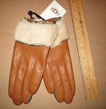 UGG Gloves Shorty Driver Shearling British Tan Leather Medium NEW