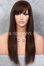 100% HUMAN HAIR Long NEW STRAIGHT Brown WIG W. Bangs IHHI 4