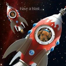 Rocket Fuel Dachshund Dog in Space Ship Have a blast on your birthday card