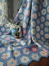 """OH MY 3/4"""" TINY PIECES Vintage 30s Cottage Blue Feedsack Flower Garden QUILT"""
